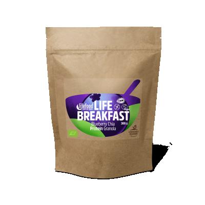 Life Breakfast Granola Blaubeere Chia Protein ROH BIO