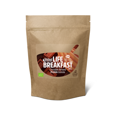 Life Breakfast Granola Schokolade Mandeln Protein ROH BIO