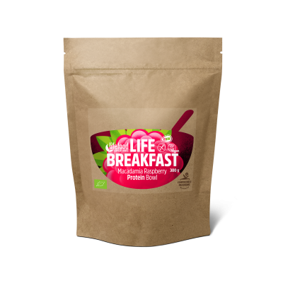 Life Breakfast Porridge Himbeere Makadamia Protein ROH BIO