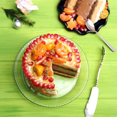 Kaki-Schicht-Torte mit Baobab