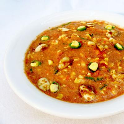 Tomaten-Mais Eintopf mit Teriyaki Mandeln